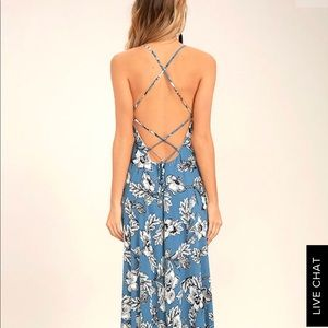 Lulu's Strappy Blue Floral Maxi Dress, size S. NWT